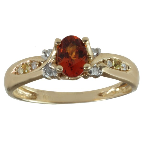 Michael Valitutti 10k Yellow Gold Spessartite Garnet, Yellow Sapphire and Diamond Ring