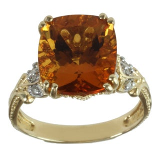 Michael Valitutti 14k Yellow Gold Cushion-cut Citrine and Diamond Ring