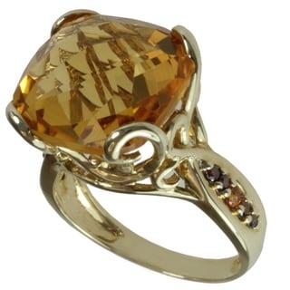 Michael Valitutti 14k Yellow Gold Cushion-cut Citrine, Spessartite and Diamond Ring