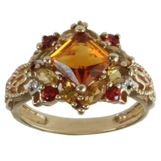Michael Valitutti 10k Yellow Gold Madeira Citrine, Orange Sapphire, Citrine and Diamond Ring