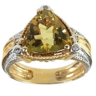 Michael Valitutti 14k Yellow Gold Canary Beryl and Diamond Ring