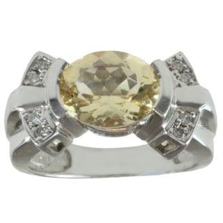 Michael Valitutti 14k White Gold Yelow Beryl and Diamond Ring