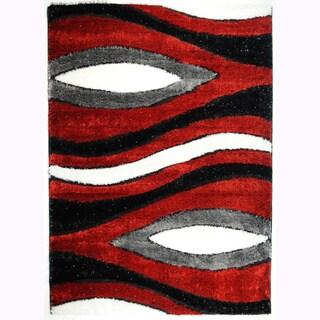 Crystal Glitter Soft Shag Oval Eyes Red Area Rug (5'3 x 7'3)