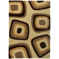 Milan Super Heavy Shag Brown Evil Eye Beige Area Rug (7'10 x 10'6)