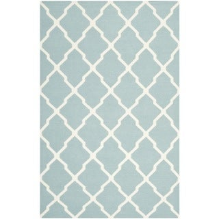Safavieh Hand-woven Moroccan Reversible Dhurrie Light Blue Wool Rug (9' x 12')