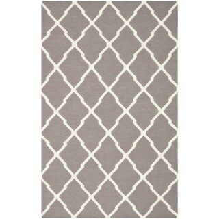 Safavieh Hand-woven Moroccan Reversible Dhurrie Dark Grey Wool Rug (8' x 10')