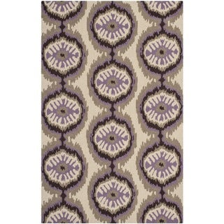 Safavieh Hand-hooked Indoor/Outdoor Four Seasons Beige/ Purple Rug (8' x 10')
