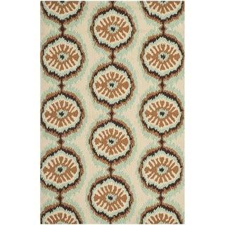 Safavieh Hand-hooked Indoor/Outdoor Four Seasons Beige/ Green Rug (5' x 8')