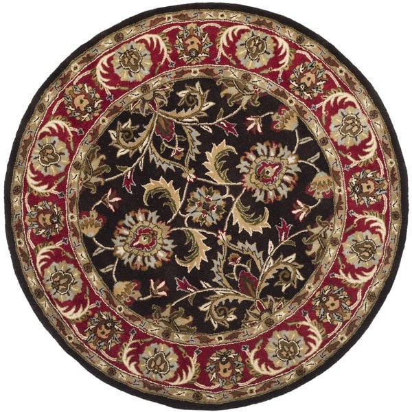 Safavieh Handmade Heritage Kerman Chocolate Brown/ Red Wool Rug (6' Round)