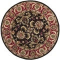 Handmade Heritage Kerman Chocolate Brown/ Red Wool Rug (8' Round)