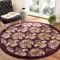 Handmade Metro Fleur Maroon Red New Zealand Wool Rug (8' Round)