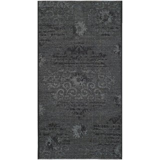 Safavieh Palazzo Black/ Grey Polypropylene/ Over-dyed Chenille Rug (2' x 3'6)