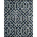 Safavieh Hand-made Soho Grey/ Dark Blue Wool Rug (7'6 x 9'6)