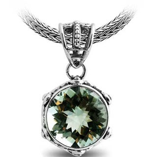 Sterling Silver Bali Faceted Green Amethyst Rope Bezel Pendant (Indonesia)