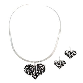 Handcrafted Alpaca Heart Necklace and Earring Set (Mexico)