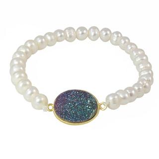 Handmade Gemstone Stretch Bracelet with Druzy Accent (USA)