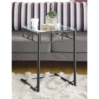 Black Tempered Glass Top Snack Table
