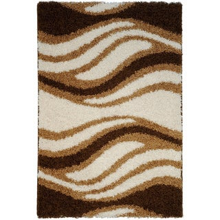 Soft Shag Waves Brown/ Ivory Area Rug (5' x 7')