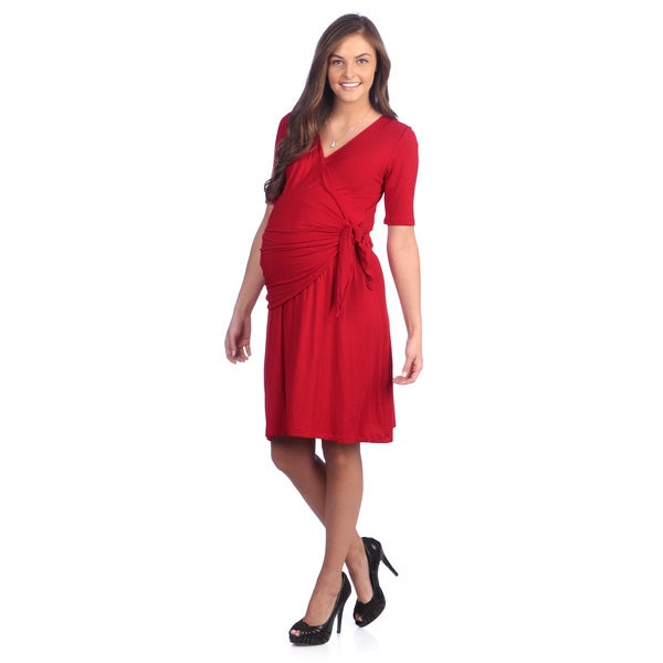 Ashley Nicole Maternity Women's Petite Red Crossover Adjustable Wrap Dress (S)