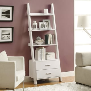 White Ladder Bookcase with Drawers