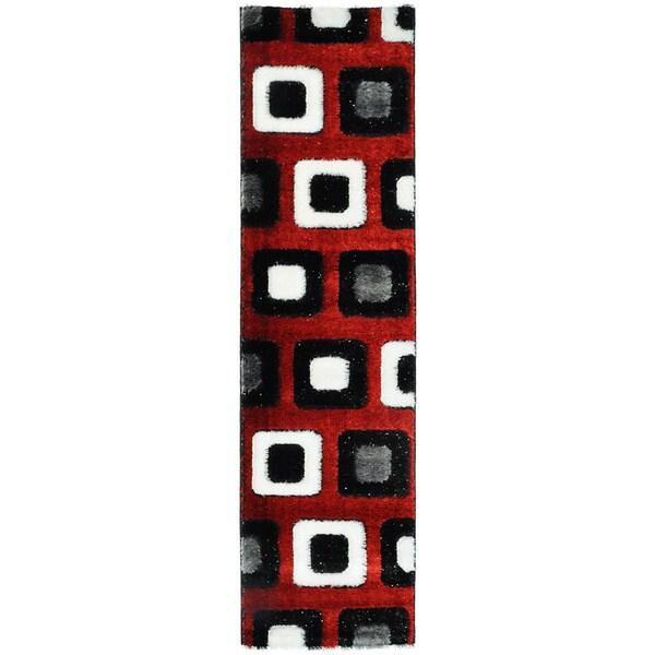Crystal Glitter Soft Shag Time Square Red Runner Rug (2'7 x 10')