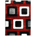 Crystal Glitter Soft Shag Time Square Red Area Rug (3'11 x 5'3)