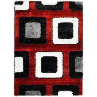 Crystal Glitter Soft Shag Time Square Red Area Rug (8'2 x 9'10)