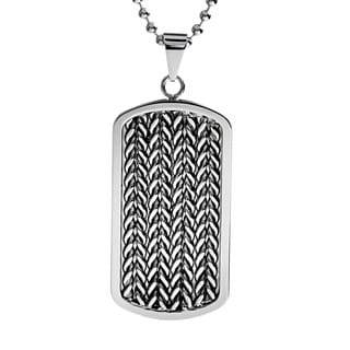 Stainless Steel Men's Cable Inlay Dog Tag Necklace
