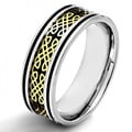 Two-tone Steel Men's Celtic Design and Black Carbon Fiber Inlay Ring