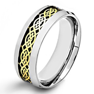 Goldplated Steel Men's Celtic Design and Black Carbon Fiber Inlay Ring