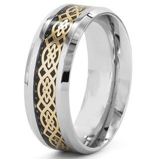 Goldplated Steel Men's Celtic Design and Black Carbon Fiber Inlay Ring