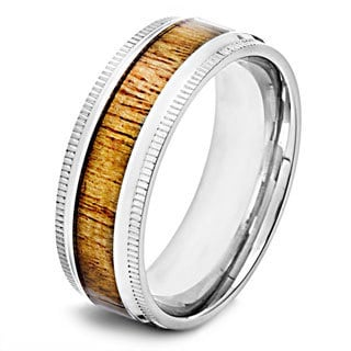 Crucible Polished Stainless Steel Oak Wood Inlay Milgrain Ring - 8mm Wide