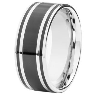 Black-plated Stainless Steel Racing Stripe Inlay Flat Ring