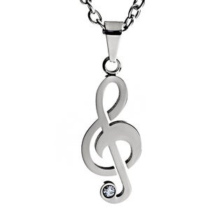 Stainless Steel White Cubic Zirconia Treble Clef Necklace