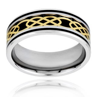 Goldplated Steel Men's Black Carbon Fiber and Celtic Knot Band