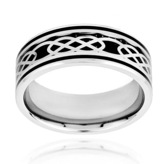 Stainless Steel Men's Carbon Fiber and Celtic Knot Design Band