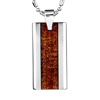 Titanium Men's Wood Inlay Dog Tag Necklace