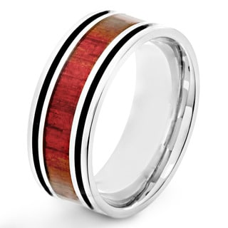 Stainless Steel Men's Red Wood Inlay and Black Enamel Stripe Ring