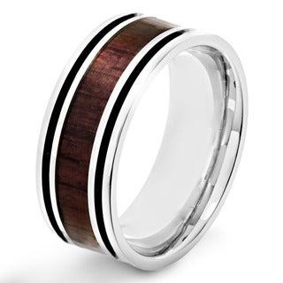 Stainless Steel Men's Wood Inlay and Black Enamel Stripe Ring
