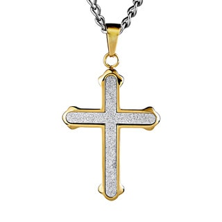 Gold-plated Stainless Steel Sandblasted Cross Pendant