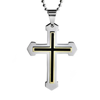 Gold-plated Black Enamel Stainless Steel Layered Cross Necklace