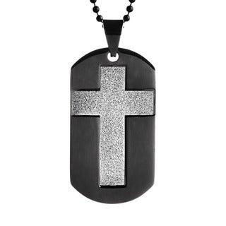 Black-plated Stainless Steel Sandblasted Cross Dog Tag Necklace