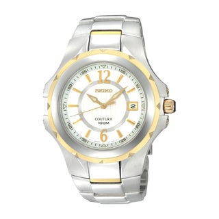 Seiko Men's Silver White Dial Stainless Steel Quartz Watch