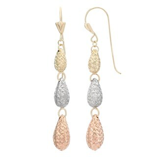 Gioelli 14k Tri-color Gold Diamond-cut Teardrop Dangle Earrings
