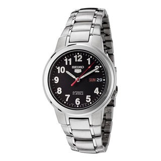 Seiko Men's '5 Automatic' Black Dial Stainless Steel Watch