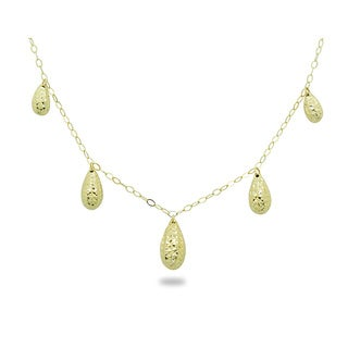 Gioelli 14k Yellow Gold Diamond-cut Puff Teardrop Necklace