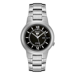 Seiko Men's '5 Automatic' Black-dial Stainless Steel Automatic Watch