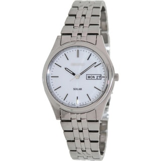 Seiko Men's Solar Stainless Steel White Dial Watch