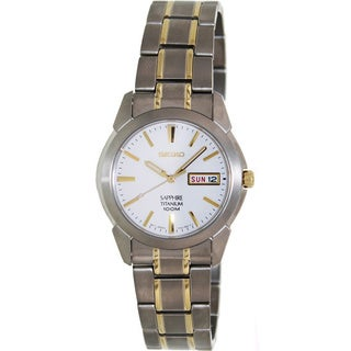 Seiko Men's Two-tone Titanium White Dial Quartz Watch