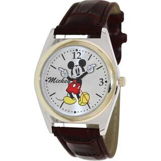 Disney Men's Mickey Mouse Brown Strap Quartz Watch